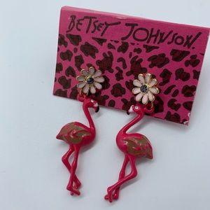 New BETSEY JOHNSON pink&brown flamingo earrings